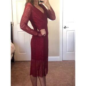 bobiBlack lace dress - cranberry